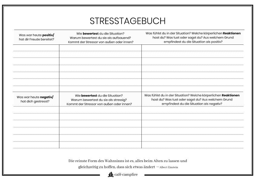 Deine Stress-Tagebuch Vorlage